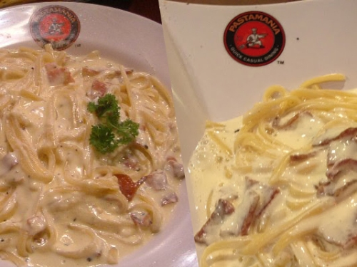 Two examples of how carbonara is served in one of Singapore's largest pasta chains.